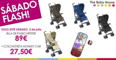 Oferta en productos para tu bebé: silla de paseo Hipster a 89 € + colchoneta Monkey Car a 27,50 €