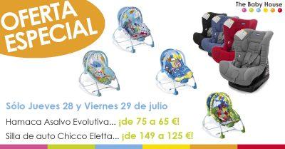 Oferta en productos de bebé en Sevilla: silla de auto Chicco Eletta y hamaca Asalvo Evolutiva