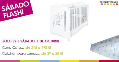 Nueva oferta en productos de bebé: sólo el 1 de octubre, cuna de madera a 195 € y colchón a 25 €